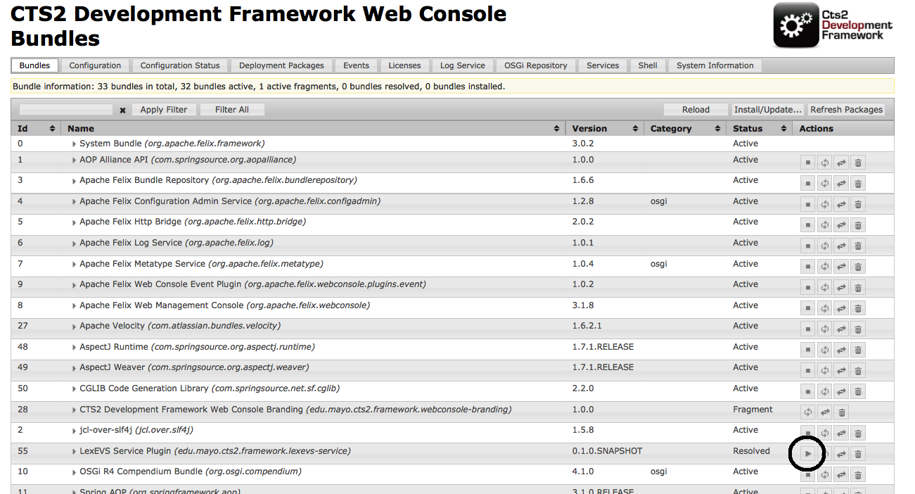 CTS2 Development Framework Web Console Bundles screen with LexEVS Service Plugin highlighted