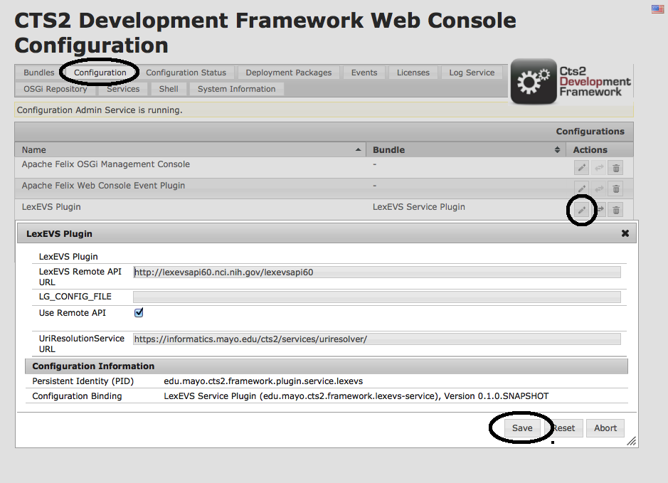 CTS2 Development Framework Web Console Configuration with LexEVS Plugin information