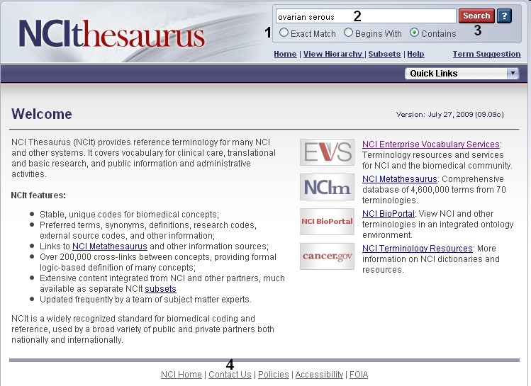 NCI Thesaurus Search Page screen shot
