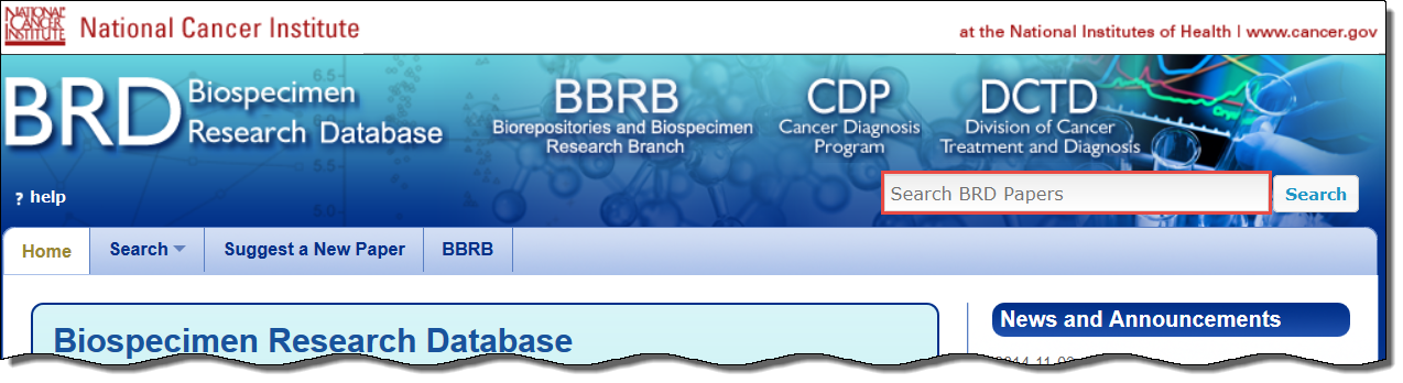 BRD home page highlighting the Search BRD papers box