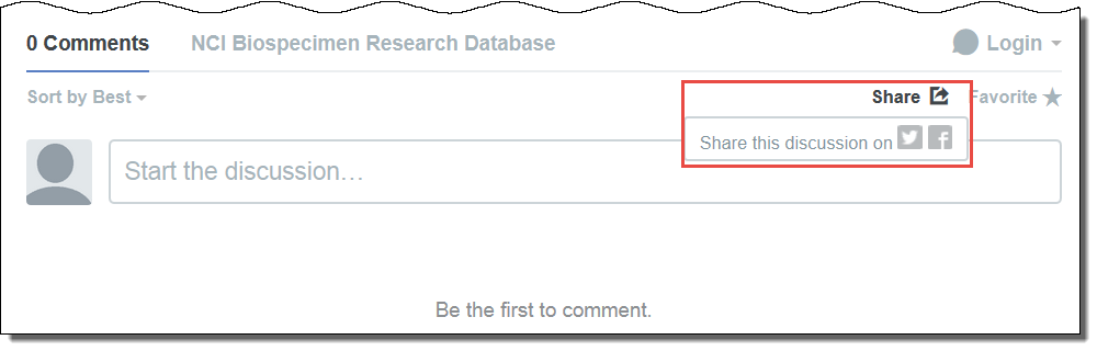 Comment box highlighting the Share options
