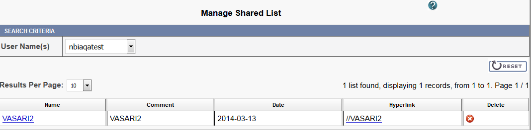Manage Shared List page displaying a selected user's shared list