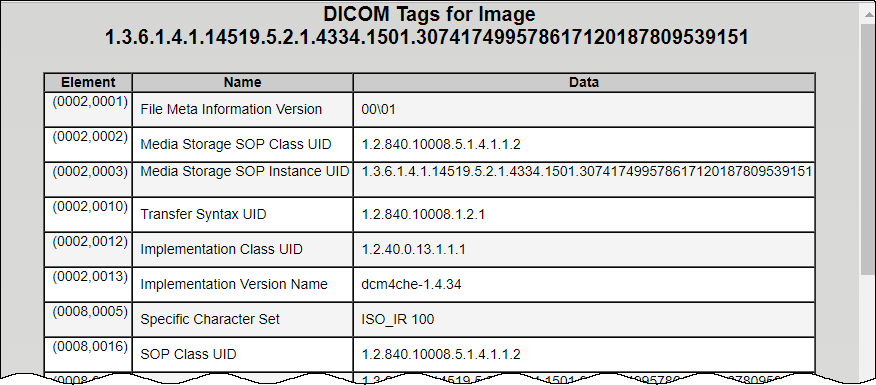 DICOM tags for first image in the series. Columns are Element, Name, and Data