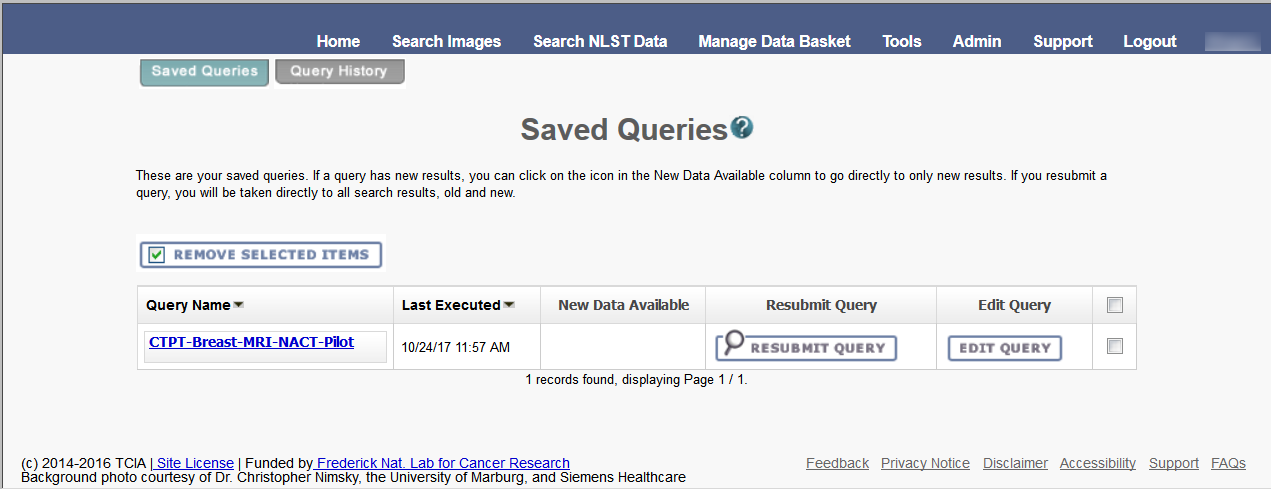 Saved Queries page