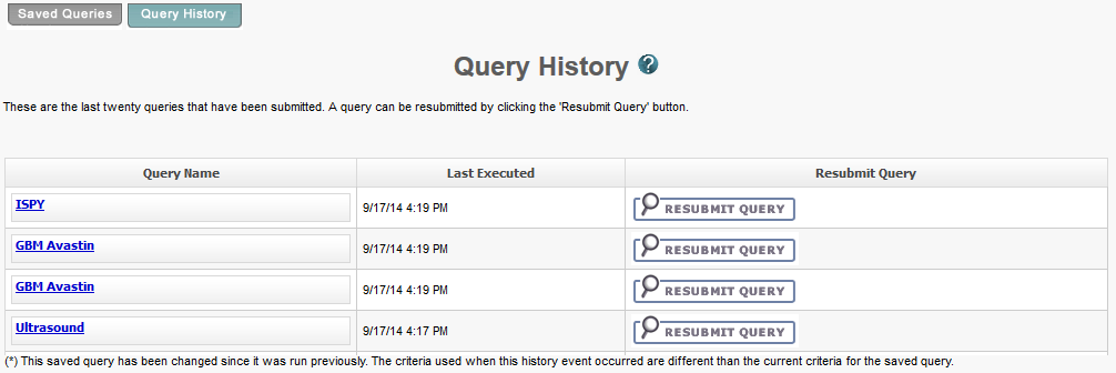 query history page