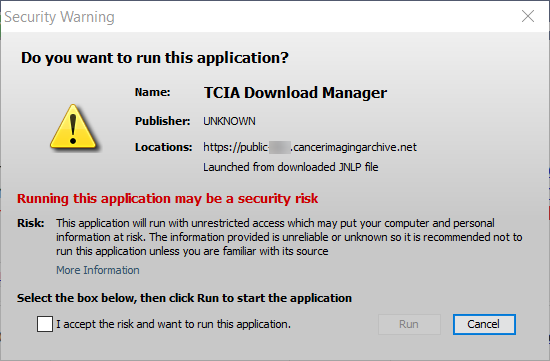 TCIA Download Manager Security Warning