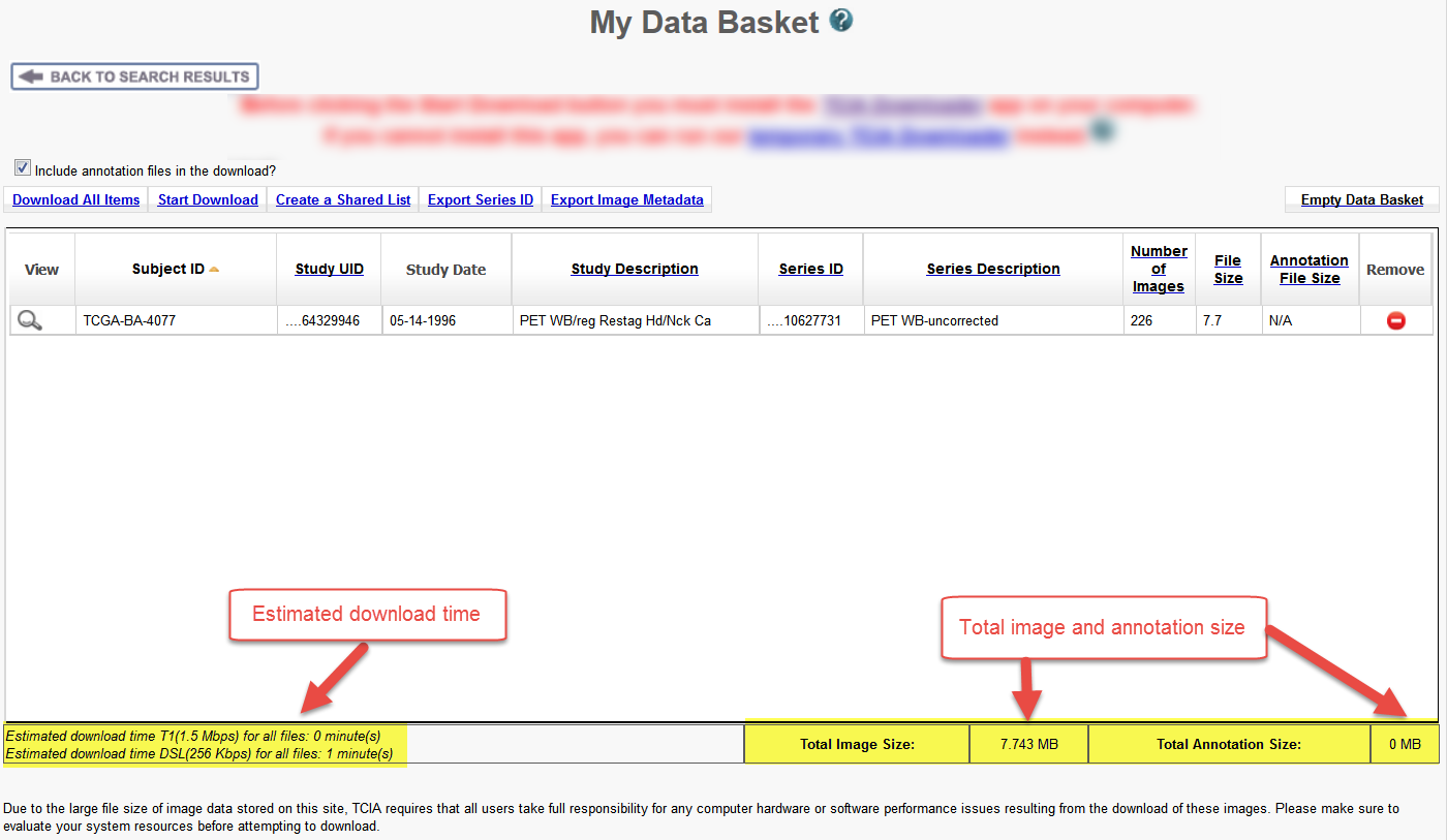 My Data Basket page