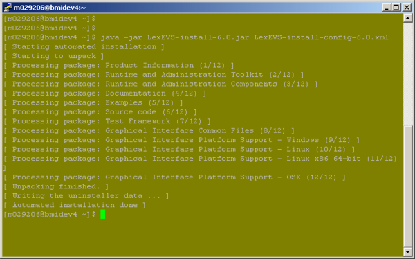 Command prompt showing completed installation without a GUI.