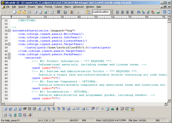 Configuration file shown in an editor.