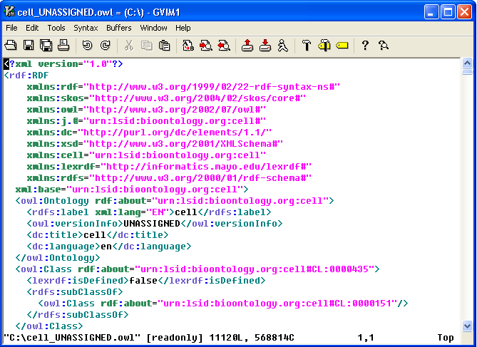 Screen shot of the exported OWL file being viewed in a text editor.